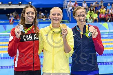 BRA, Olympia 2016 Rio, Schwimmsport Siegerehrung - 100m Schmetterling der Frauen
