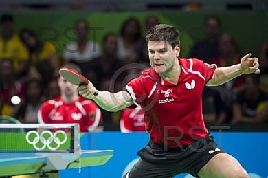 BRA, Olympia 2016 Rio, Tischtennis, Team Viertelfinale Oestereich vs Deutschland Ovtcharov Dimitrij (GER) vs Fegerl Stefan (AUT)