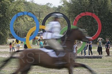 BRA, Olympia 2016 Rio, Feature Olympische Ringe mit Reiter