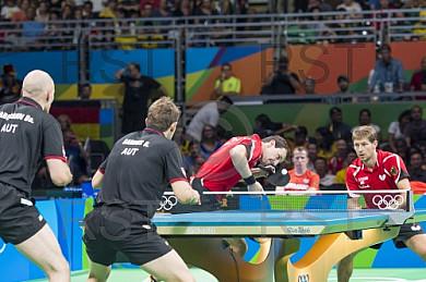 BRA, Olympia 2016 Rio, Tischtennis, Team Viertelfinale Oestereich vs Deutschland Doppel Gardos Robert (AUT) und Habesohn Daniel (AUT) vs. Boll Timo (GER) und Steger Bastian (GER)
