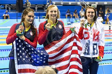 BRA, Olympia 2016 Rio, Schwimmsport Siegerehrung - 400m Freistil der Frauen
