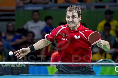 BRA, Olympia 2016 Rio, Tischtennis, Team Viertelfinale Oestereich vs Deutschland Gardos Robert (AUT)  vs. Boll Timo (GER)